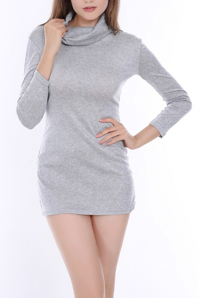 Gray Long Sleeve Turtleneck Basic Solid Mini Sheath Woollen Sweater Dress