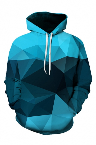 Hot Fashion 3D Colorblock Geometric Printed Long Sleeve Loose Casual Hoodie