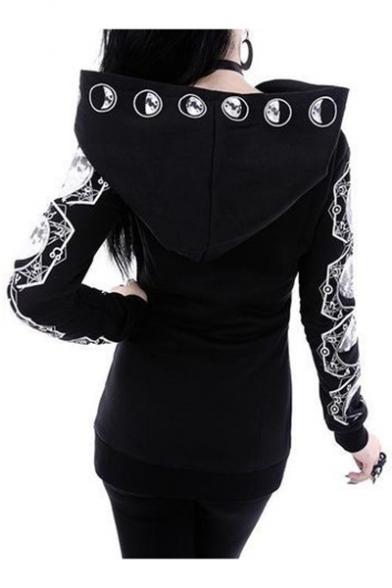 Hot Fashion Punk Style Long Sleeve Moon Pattern Zip Up Black Slim Hoodie