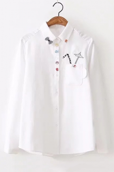 New Arrival Umbrella Embroidered Pocket Chest Long Sleeve Lapel Collar Button Front Shirt