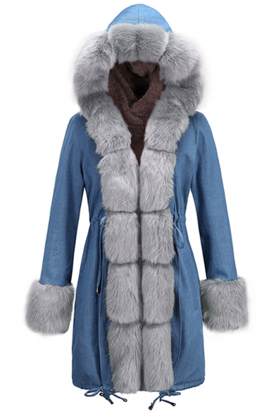 New Fashion Long Sleeve Fleece Hooded Patched Tunics Denim Coat