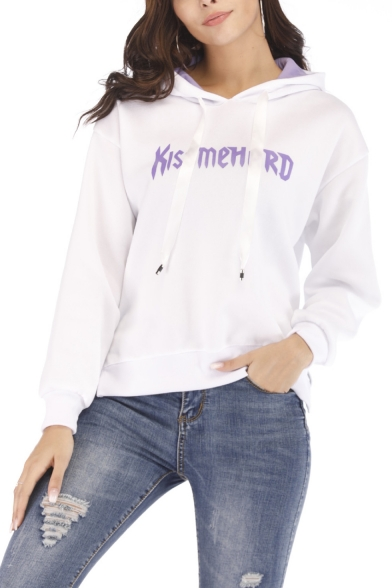 New Trendy Fashion Letter Print Long Sleeve Regular Fitted Hoodie