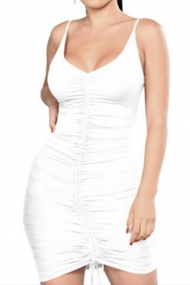 Sexy V Neck Straps Plain Ruched Detail Bodycon Mini Dress