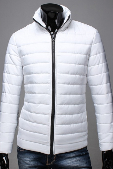 Купить со скидкой Simple Casual Long Sleeve Plain Stand Collar Zipper Quilted Coat