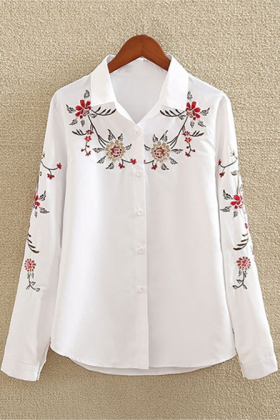 Simple Long Sleeve Floral Embroidered Lapel Collar White Button Down Shirt
