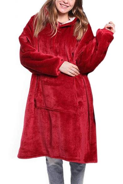Soft Winter Lazy Long Sleeve Plain Oversize Sherpa Flannel Hoodie TV Blanket