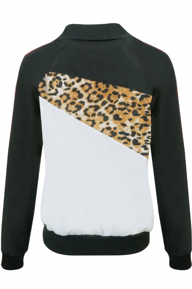 Sporty Black and White Leopard Pattern Patchwork Zip Front Gathered Waist Track Jacket