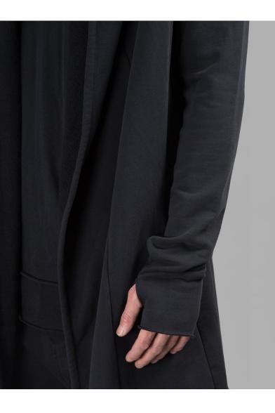 Stylish Long Sleeve Open Front Plain Tunics Black Coat