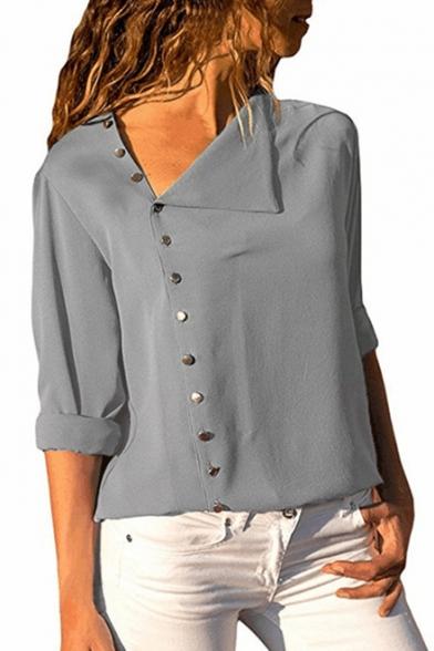 Stylish Long Sleeve Plain Asymmetric Collar Button Down Shirt