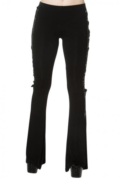 Unique Webbing Lace-Up Side Basic Solid Black Boot-Cut Pants