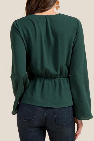 Women's Solid V-Neck Bell Sleeve Tied Waist Ruffle Hem Blouse