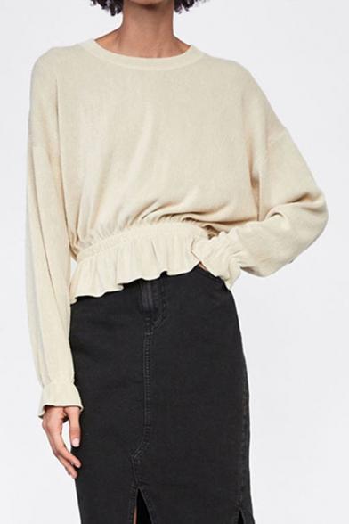 Купить со скидкой Women's Style Beige Round Neck Long Sleeve Ruffle Gathered Hem Knitwear