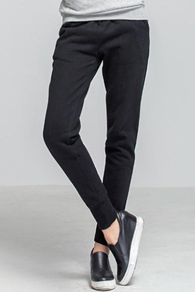 Купить со скидкой Autumn's New Trendy Plain Cashmere Elastic Cuff Drawstring Waist Warm Pants