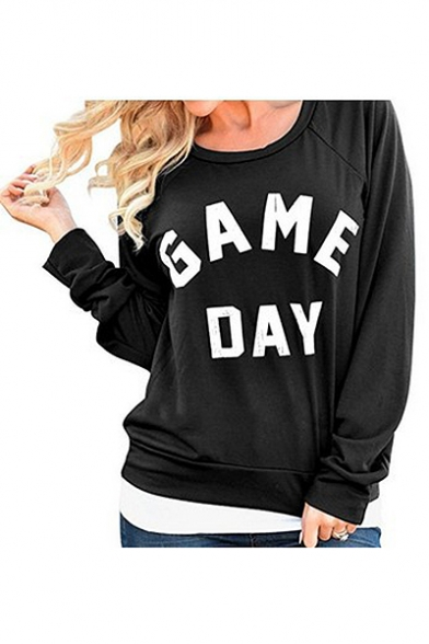 Cozy Long Sleeve Crewneck Letter GAME DAY Printed Cotton Sweatshirt