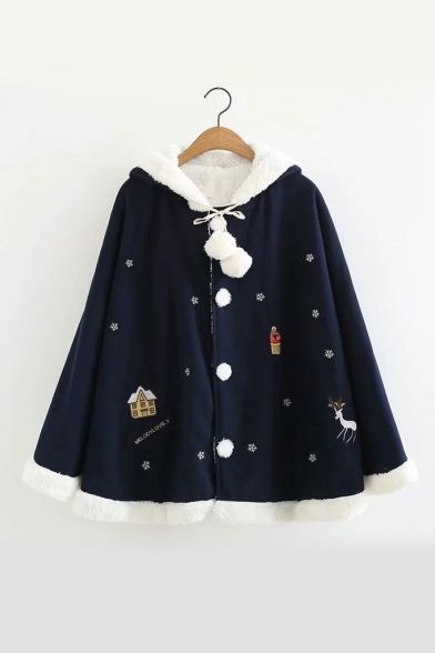 Cute Cartoon Christmas Snowflake Deer Printed Horn Hooded Pom Button Down Cape Coat, LC496507, Pink;navy