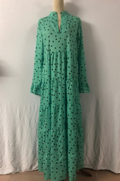Green Polka Dot Printed V-Neck Ruffle Cuff Long Sleeve Maxi Swing Dress