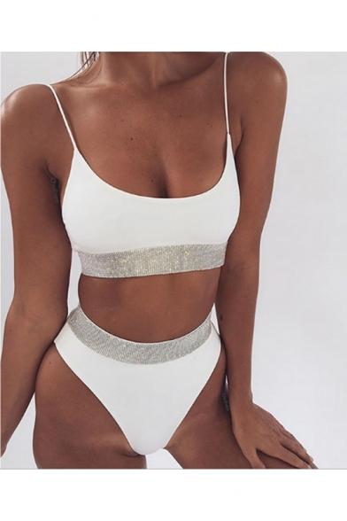 Hot Fashion Spaghetti Straps Sleeveless Diamond Embellished Top High Waist Bottom Bikini