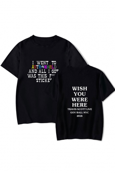 Hot Popular Letter WISH YOU WERE HERE Pattern Round Neck Short Sleeve T-Shirt