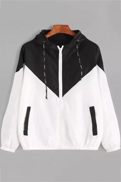 Long Sleeve Elastic Hem Zip Closure Loose Hooded Coat