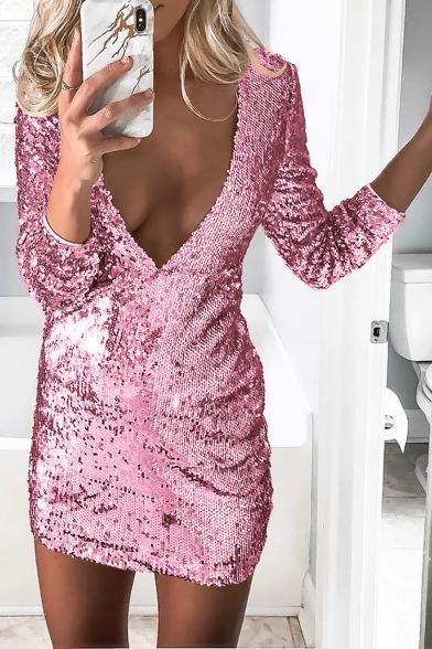Ladies Plain Sequined Embellished Long Sleeve Shift Mini Dress
