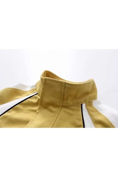 Lapel Collar Long Sleeve Colorblock Zip Front Elastic Cuff Coat