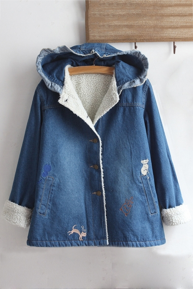 Long Sleeve Single Breasted Cartoon Cat Printed Lamb Wool Denim Hooded Coat