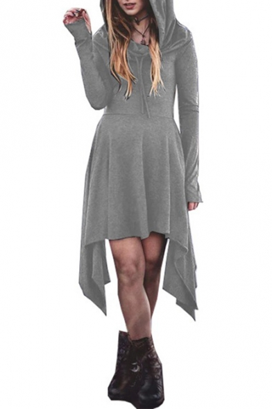 New Arrival Fashion Hooded Long Sleeve Solid Midi Asymmetrical Dress for Women