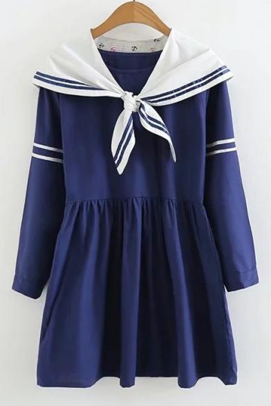 New Arrival Long Sleeve Navy Collar Striped A-Line Mini Dress