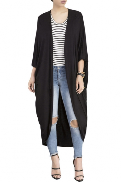 Plush Batwing Long Sleeve Open Front Plain Asymmetrical Trench Coat