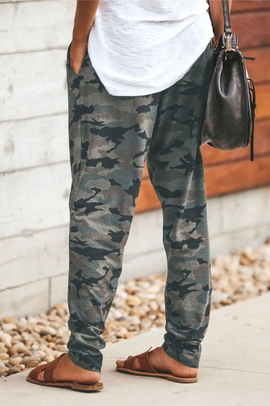 Popular Camouflage Printed Drawstring Waist Lounge Pants