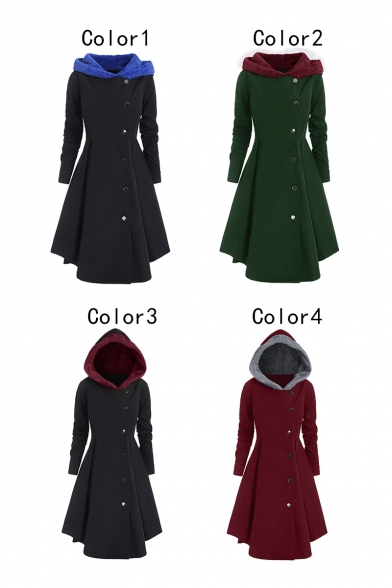 Retro Colorblock Long Sleeve Single Breasted Slim Tunics Trench Coat