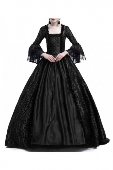 Retro Flare Long Sleeve Square Neck Lace Patch Medieval Costume A-Line Maxi Dress