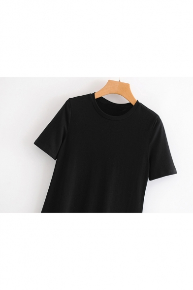 Simple Short Sleeve Round Neck Patchwork Asymmetric Hem Midi Shift Black Dress