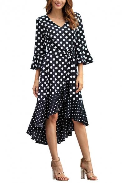 Unique 3/4 Length Sleeve V Neck Polka Dot Printed Tie Waist High Low Midi Dress