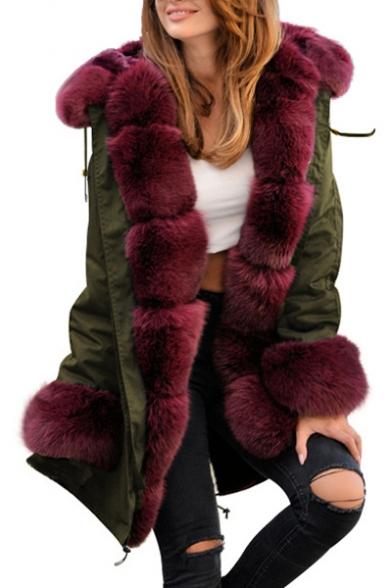 Warm Long Sleeve Faux Fur Patched Drawstring Hem Tunics Hooded Coat
