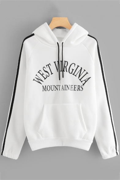 WEST VIRGINIA Print Striped Side Raglan Sleeve Hoodie with Large Pocket