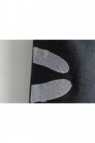 Winter's Cartoon Cat Embroidered Elastic Drawstring Waist Jeans