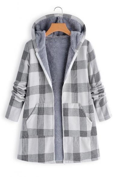 Winter's Warm Thick Long Sleeve Hooded Plaid Printed Shearling Inside Zip Up Longline Coat