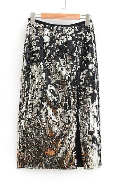 Zip Fly Sequined Embellished Split Front Black Midi Pencil Skirts