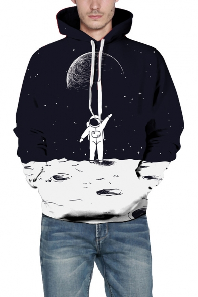 3D Cozy Loose Astronaut Printed Long Sleeve Black Hoodie for Couple
