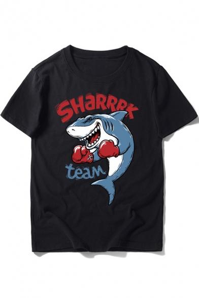 Animal Shark Letter SHARRRK TEAM Printed Round Neck Short Sleeve Fitted Tee
