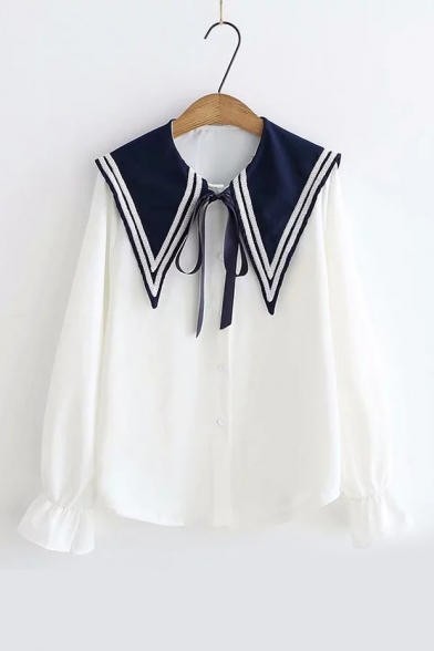 Chic Bow Tied Sailor Collar Fashion Colorblock Bell Cuff Button Front Shirt