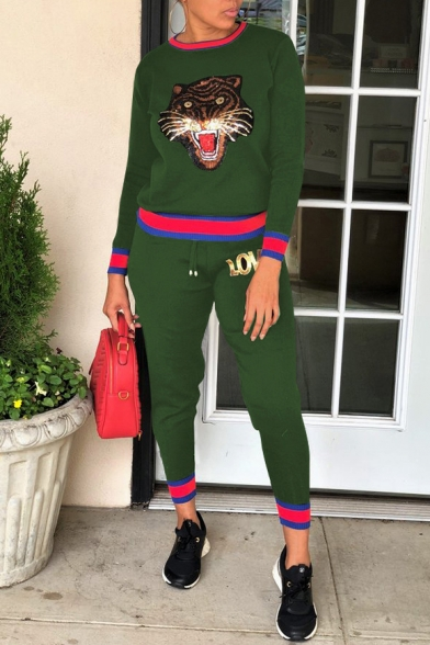 Colorblock Round Neck Long Sleeve Tiger Printed Sequined Top Drawstring Waist Pants Co-ords