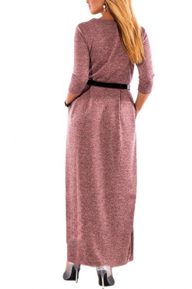 Elegant Long Sleeve Round Neck Button Front Plain Maxi A-Line Dress with Belt