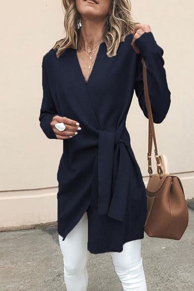 Elegant Long Sleeve V Neck Plain Self-Tie Fastening Longline Wrap Coat