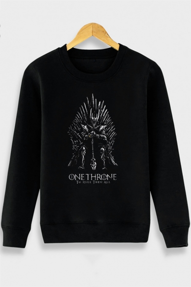Letter ONE THRONE Printed Long Sleeve Round Neck Black Sweatshirt