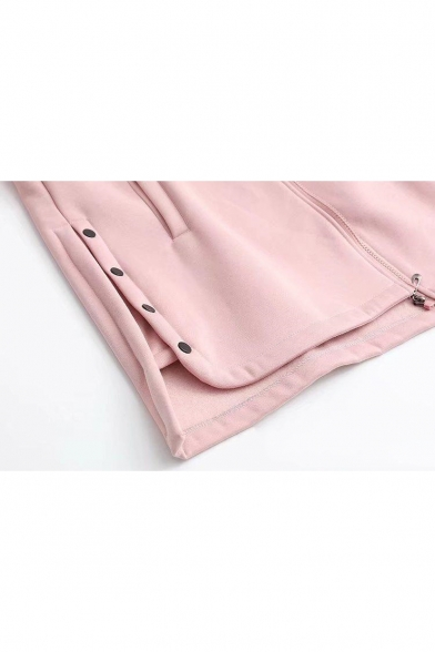New Fashion Long Sleeve Letter Patched Zip Closure Button Embellished Tunics Coat