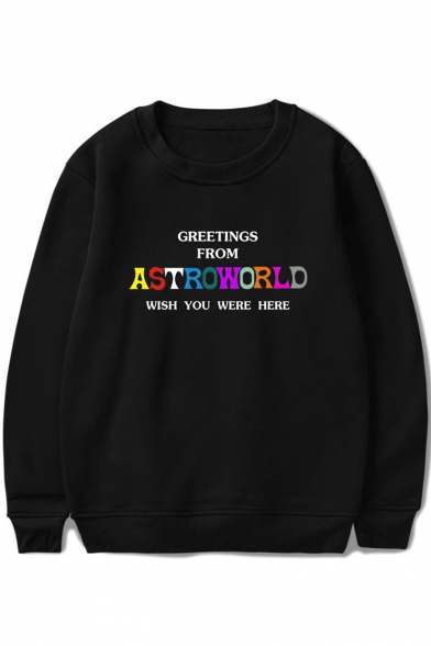 New Trendy Colorful Letter ASTROWORLD WISH YOU WERE HERE Printed Round Neck Pullover Sweatshirt