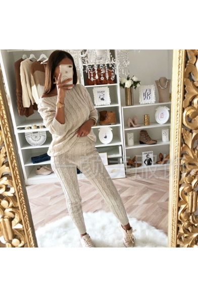 Sexy Long Sleeve Off The Should Plain Sweater Elastic Pants Co-Ords