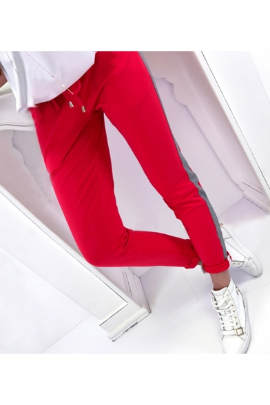Sports Drawstring Waist Stripes Printed Leisure Pants